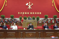 "In this photo provided by the North Korean government, North Korean leader Kim Jong Un, center, attends a ruling party congress in Pyongyang, North Korea Tuesday, Jan. 5, 2021. Kim opened its first Workers' Party Congress in five years with an admission of policy failures and a vow to lay out new developmental goals, state media reported Wednesday. Independent journalists were not given access to cover the event depicted in this image distributed by the North Korean government. The content of this image is as provided and cannot be independently verified. Korean language watermark on image as provided by source reads: ""KCNA"" which is the abbreviation for Korean Central News Agency. (Korean Central News Agency/Korea News Service via AP)"