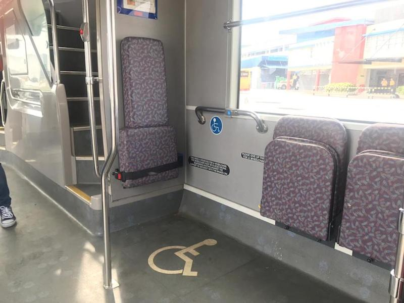 The interior of a disabled- and elderly-friendly bus. — Picture courtesy of Prasarana