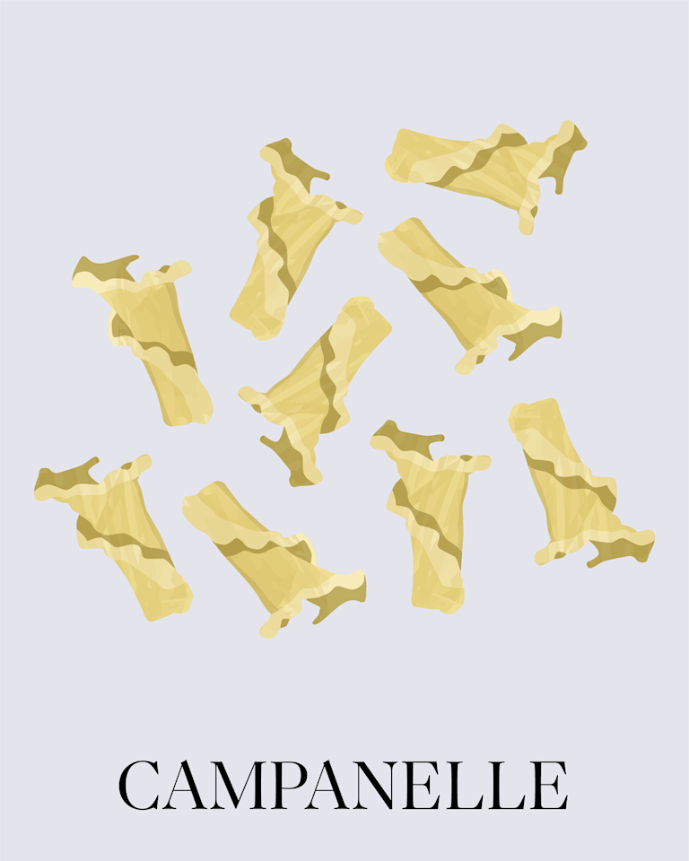 """<p>Its name means """"little bells,"""" and this pasta shape is characterized by its ruffled edges, hollow center, and bell-like shape. You'll find campanelle sold by major pasta makers such as Barilla. Try our recipe for <a href=""""https://www.marthastewart.com/1529686/campanelle-pistachio-mint-pesto-asparagus-and-cherry-tomatoes"""">Campanelle with Pistachio-Mint Pesto, Asparagus, and Cherry Tomatoes</a> or <a href=""""https://www.marthastewart.com/1124451/campanelle-zucchini-and-mint"""">Campanelle with Zucchini and Mint</a>.</p>"""