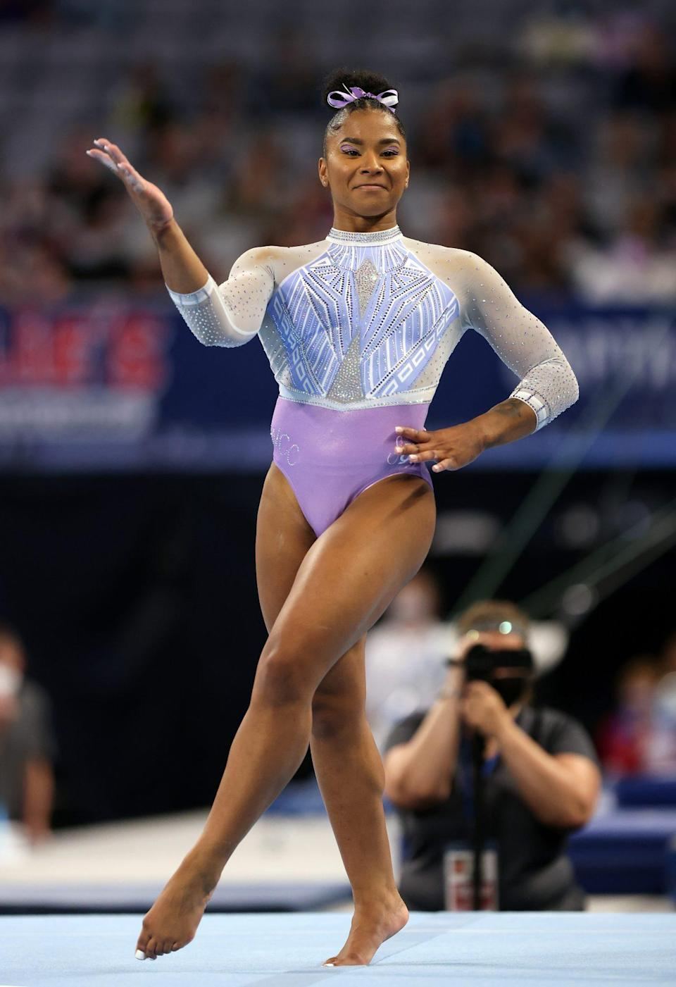 """<p>Making her first appearance on an international stage, Chiles, 20, is another one to watch, and hails from the same training gym as teammate Biles. """"I need to be able to go out there and just be Jordan and not try to be ... I don't know, like the next Gabby [Douglas], the next Simone,"""" Chiles told <em><a href=""""https://www.usatoday.com/in-depth/sports/columnist/nancy-armour/2021/06/04/2021-olympics-us-gymnast-jordan-chiles-position-reach-tokyo/7513709002/"""" rel=""""nofollow noopener"""" target=""""_blank"""" data-ylk=""""slk:USA Today"""" class=""""link rapid-noclick-resp"""">USA Today</a></em>. """"I want to be the next Jordan. I'm myself.""""</p>"""