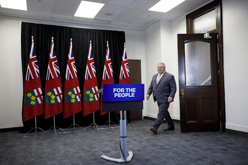 Ontario Premier Doug Ford arrives to a press conference at Queen's Park in Toronto to discuss the integrity commissioner's report into allegations he breached conflict of interest rules on March 20, 2019.