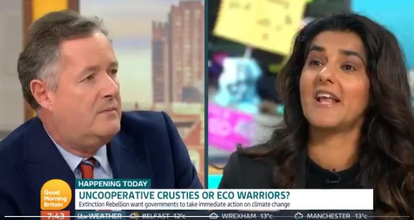 Piers Morgan labelled Skeena Rathor a hypocrit (Credit: Good Morning Britain/ITV)