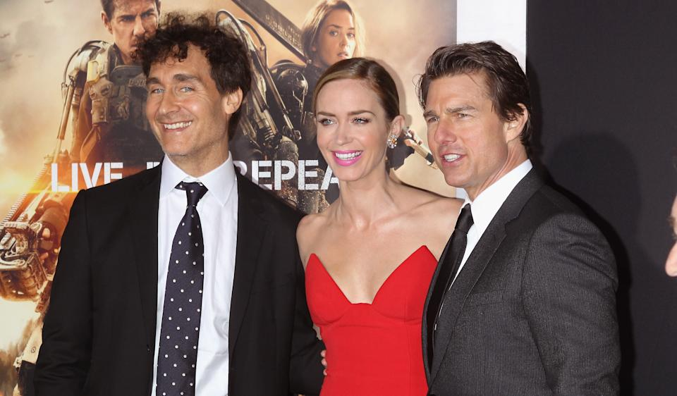 """NEW YORK, NY - MAY 28: Director Doug Liman, actors Emily Blunt and Tom Cruise attend the """"Edge Of Tomorrow"""" red carpet repeat fan premiere tour at AMC Loews Lincoln Square on May 28, 2014 in New York City.  (Photo by Jim Spellman/WireImage)"""