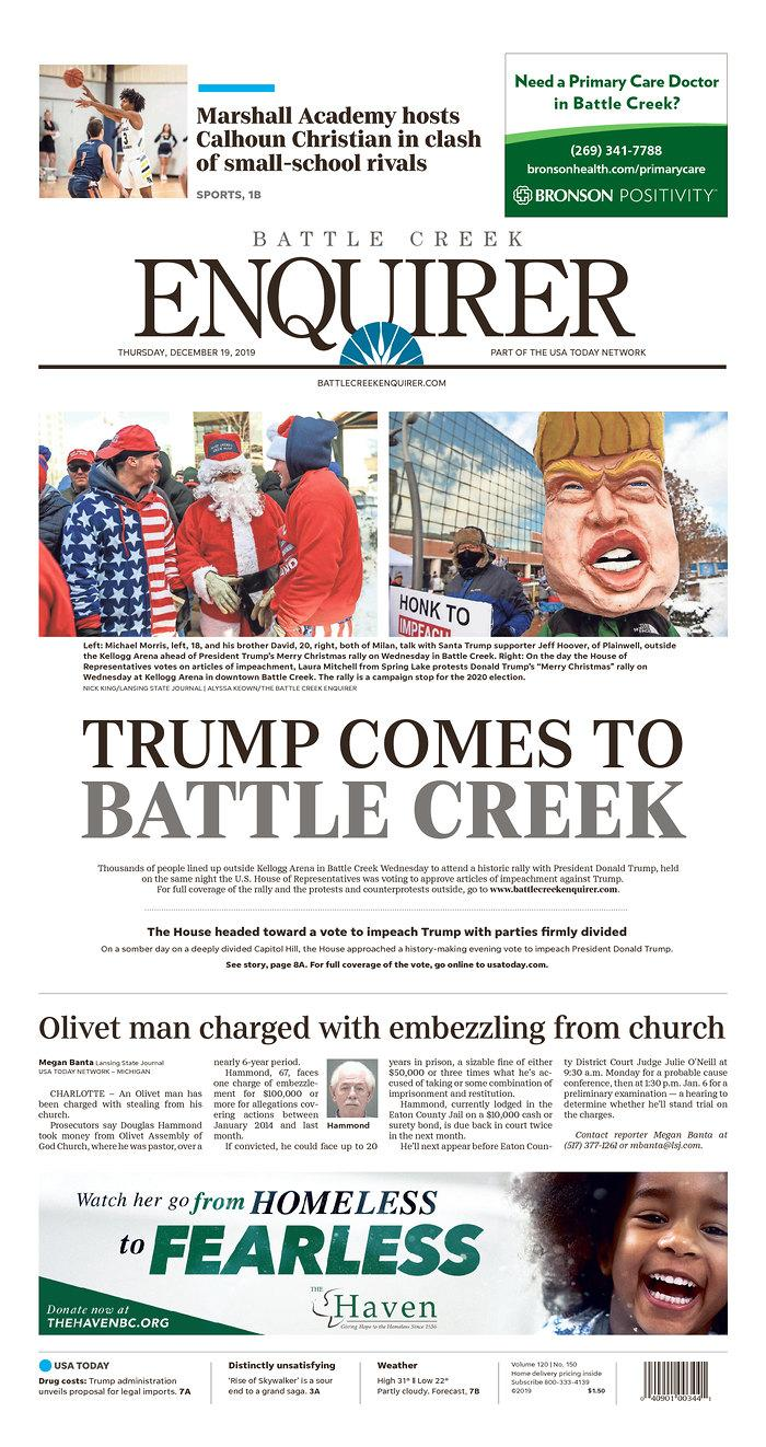 The front page of Thursday's Battle Creek, Mich., Enquirer. (Newseum.org)