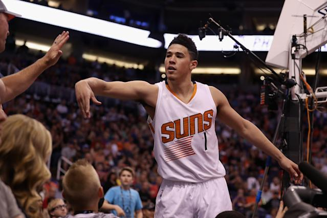 Devin Booker is an offensive machine, but he will command a heavy price come draft night. (Photo by Christian Petersen/Getty Images)