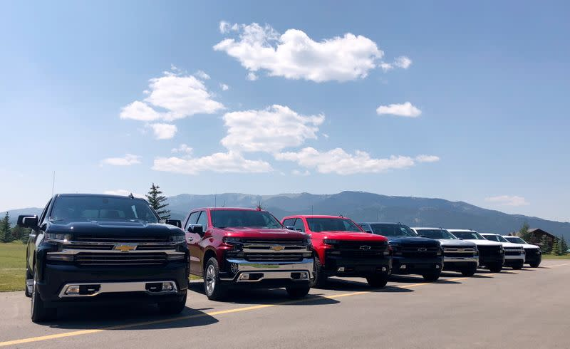 FILE PHOTO: Eight versions of General Motors Co's Chevrolet Silverado pickups are pictured lined up at an event in Idaho