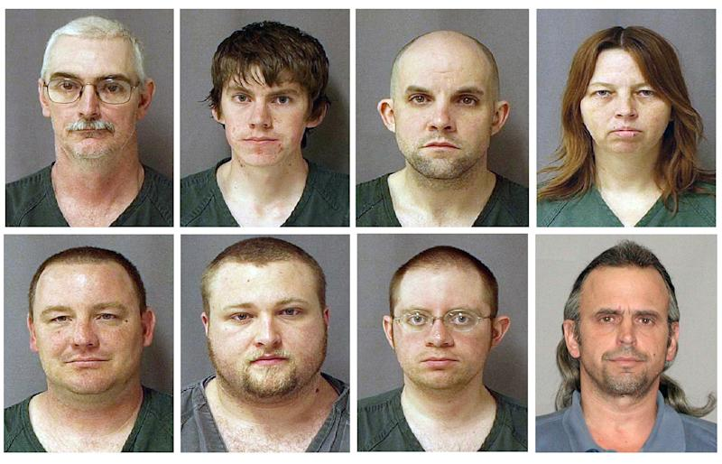 FILE - This file combo of eight photos provided by the U.S. Marshals Service on Monday March 29, 2010 shows, from top left, David Brian Stone Sr., 44, of Clayton, Mich,; David Brian Stone Jr. of Adrian, Mich,; Jacob Ward, 33, of Huron, Ohio; Tina Mae Stone and bottom row from left, Michael David Meeks,  40, of Manchester, Mich,; Kristopher T. Sickles, 27, of Sandusky, Ohio; Joshua John Clough, 28, of Blissfield, Mich.; and Thomas William Piatek, 46, of Whiting, Ind., suspects tied to Hutaree, a Christian militia. On Wednesday, March 21, 2012, defense lawyers in the trial of the seven Michigan militia members said they want a mistrial declared, claiming they should have been given details about the past work of an FBI agent who infiltrated the group.   (AP Photo/U.S. Marshalls Service, File)