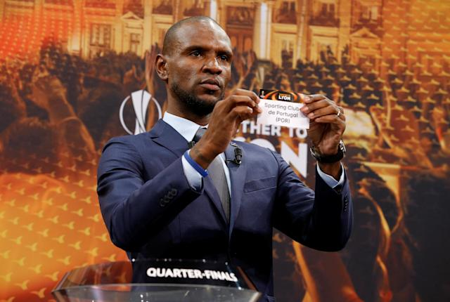 Soccer Football - Europa League Quarter-Final Draw - Nyon, Switzerland - March 16, 2018 Eric Abidal draws Sporting CP REUTERS/Pierre Albouy