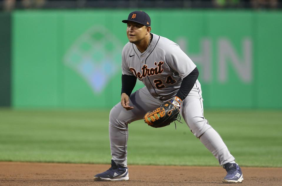 Detroit Tigers first baseman Miguel Cabrera (24) fields his position against the Pittsburgh Pirates during the fourth inning Sept. 7, 2021 at PNC Park.