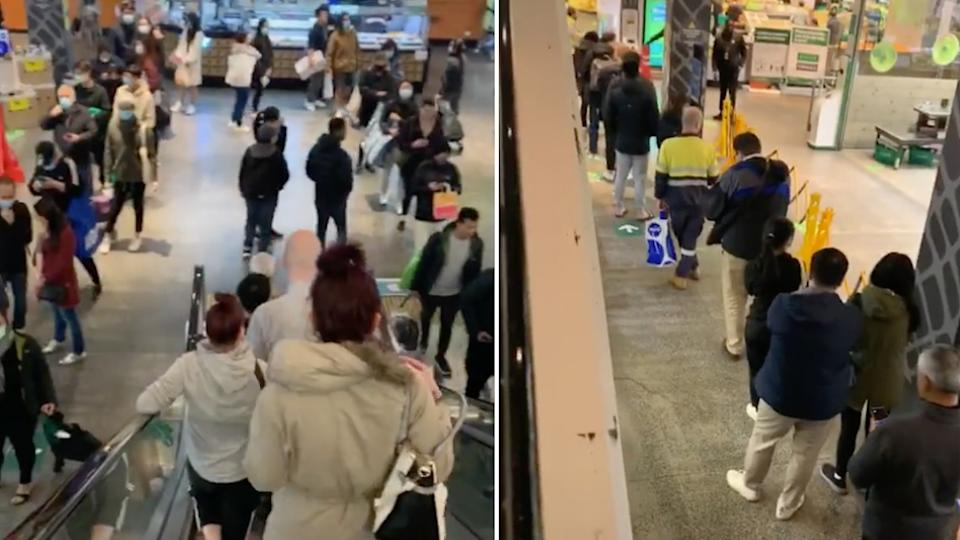 Long queues of shoppers waiting to get into a Melbourne supermarket.