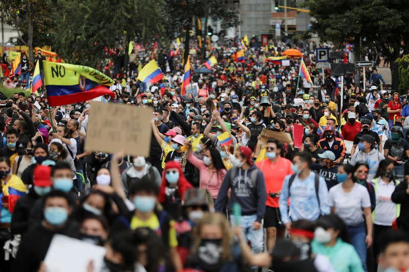 FILE PHOTO: Protest against the tax reform, in Bogota