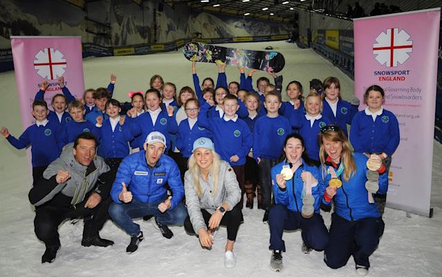 30 competition winners joined Winter Olympians for the launch of National Schools Snowsport Week - PA