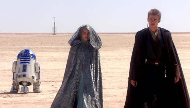 "<p>George Lucas's prequel trilogy isn't short on problems, but few are as glaring as the nonexistent chemistry between Natalie Portman's regal Queen Amidala and Hayden Christensen's petulant Anakin Skywalker. Epitomized by the latter's <a href=""https://www.youtube.com/watch?v=2tLf1JO5bvE"" rel=""nofollow noopener"" target=""_blank"" data-ylk=""slk:diatribe against sand"" class=""link rapid-noclick-resp"">diatribe against sand</a>, their romance lacks a single spark or even a sense that the two feel much of anything <span>— </span>other than annoyance at having to recite such awful dialogue in front of endless green screens. (Photo: 20th Century Fox/courtesy Everett Collection) </p>"