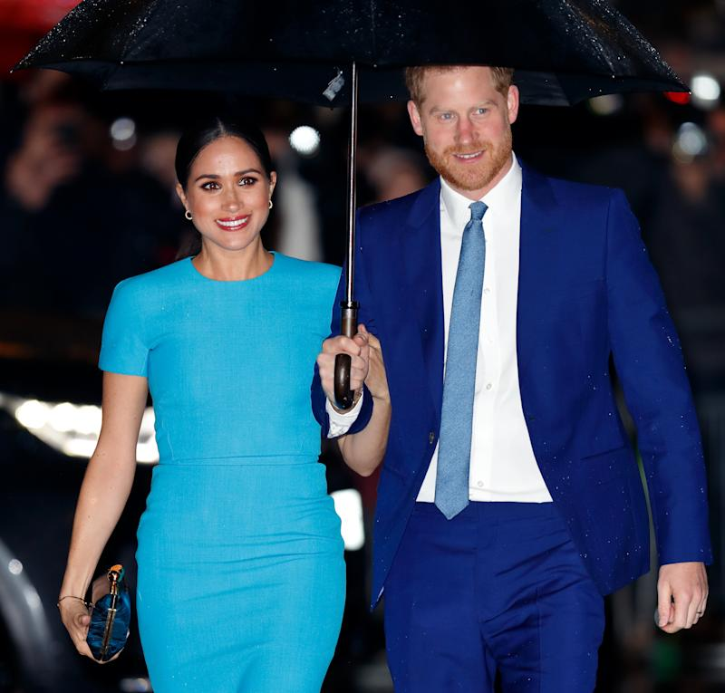 LONDON, UNITED KINGDOM - MARCH 05: (EMBARGOED FOR PUBLICATION IN UK NEWSPAPERS UNTIL 24 HOURS AFTER CREATE DATE AND TIME) Meghan, Duchess of Sussex and Prince Harry, Duke of Sussex attend The Endeavour Fund Awards at Mansion House on March 5, 2020 in London, England. (Photo by Max Mumby/Indigo/Getty Images)
