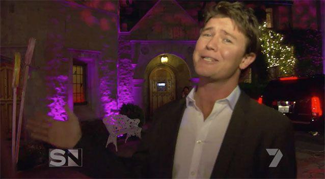 Sunday Night reporter Alex Cullen at the Playboy Mansion.