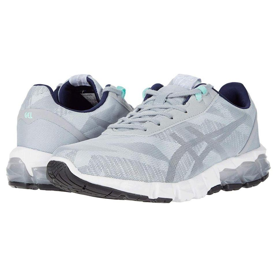 """<p><strong>ASICS</strong></p><p>zappos.com</p><p><strong>$67.94</strong></p><p><a href=""""https://go.redirectingat.com?id=74968X1596630&url=https%3A%2F%2Fwww.zappos.com%2Fp%2Fasics-gel-quantum-90-2-piedmont-grey-peacoat%2Fproduct%2F9319290&sref=https%3A%2F%2Fwww.prevention.com%2Ffitness%2Fworkout-clothes-gear%2Fg22749024%2Fbest-cross-training-shoes-for-women%2F"""" rel=""""nofollow noopener"""" target=""""_blank"""" data-ylk=""""slk:Shop Now"""" class=""""link rapid-noclick-resp"""">Shop Now</a></p><p>When you're working out, you shouldn't have to be distracted by an uncomfortable shoe. These sneakers from ASICS combine comfort and support wrapped in one package with<strong> amazing gel technology in the heel </strong>and an EVA midsole. And you won't have to deal with sweaty sneaks with this pair, which has a mesh upper for breathability while you sweat. <br></p><p>""""Fit well, lightweight, comfortable,"""" says one Zappos customer. </p>"""