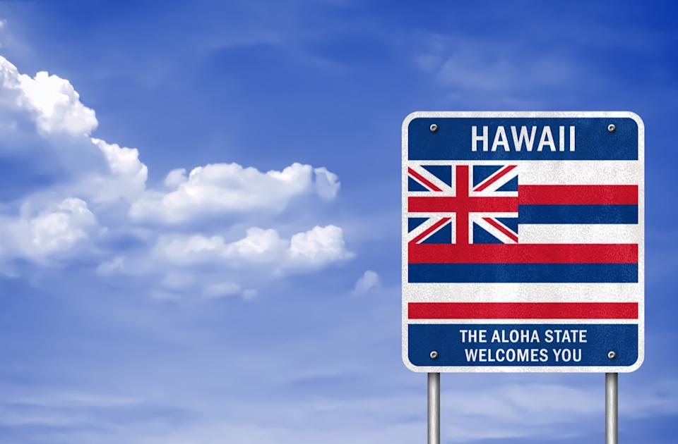 hawaii state welcome sign