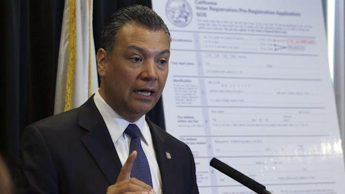 FILE - In this April 5, 2018, file photo, California Secretary of State Alex Padilla speaks in Sacramento, Calif. Padilla is urging Californians to oppose the Trump administration plan for a citizenship question on the 2020 census. Padilla on Tuesday, July 31, 2018, launched an online portal for Californians to submit public comments through the federal registrar opposing the question. (AP Photo/Rich Pedroncelli, File)