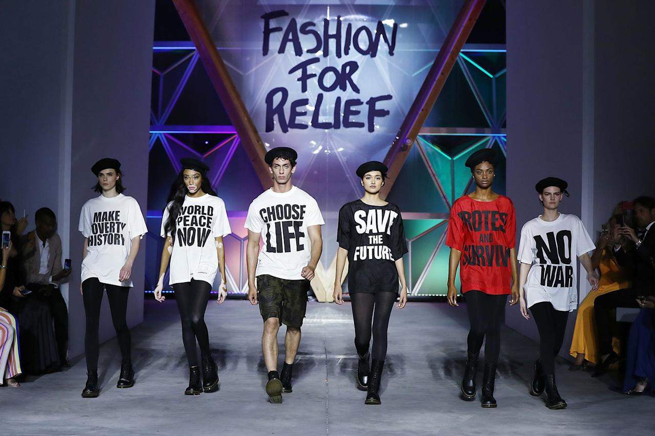 """<p>Winnie Harlow, Neelam Gill, Aissa Maiga, and other influential models walk in the Fashion for Relief runway show during the <a rel=""""nofollow"""" href=""""https://www.redbookmag.com/fashion/g20670918/cannes-film-festival-2018-naked-dresses/"""">71st annual Cannes Film Festival</a> at Aeroport Cannes Mandelieu on May 13, 2018 in Cannes, France.</p>"""