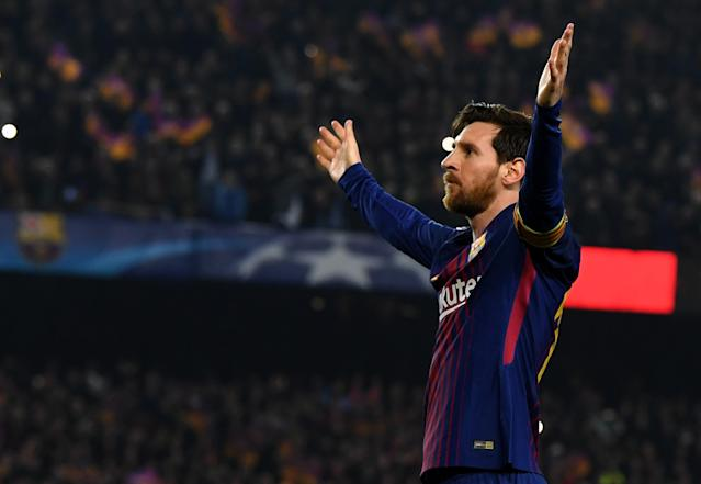 "<a class=""link rapid-noclick-resp"" href=""/soccer/players/lionel-messi/"" data-ylk=""slk:Lionel Messi"">Lionel Messi</a> scored twice and had one assist in <a class=""link rapid-noclick-resp"" href=""/soccer/teams/barcelona/"" data-ylk=""slk:Barcelona"">Barcelona</a>'s 3-0 Champions League victory over <a class=""link rapid-noclick-resp"" href=""/soccer/teams/chelsea/"" data-ylk=""slk:Chelsea"">Chelsea</a> in the round of 16. (Getty)"