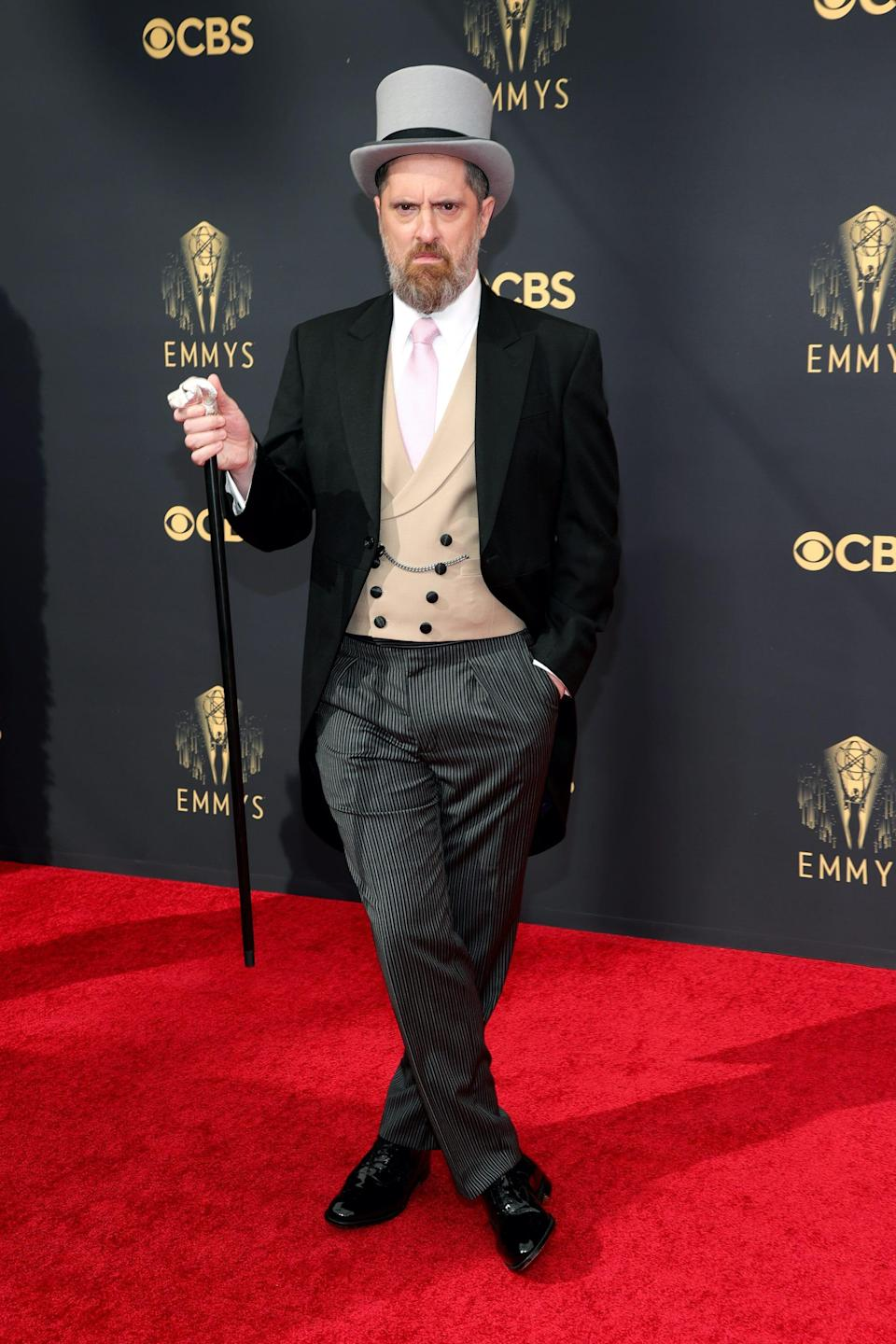 Brendan Hunt wears a morning suit to the Emmy Awards.