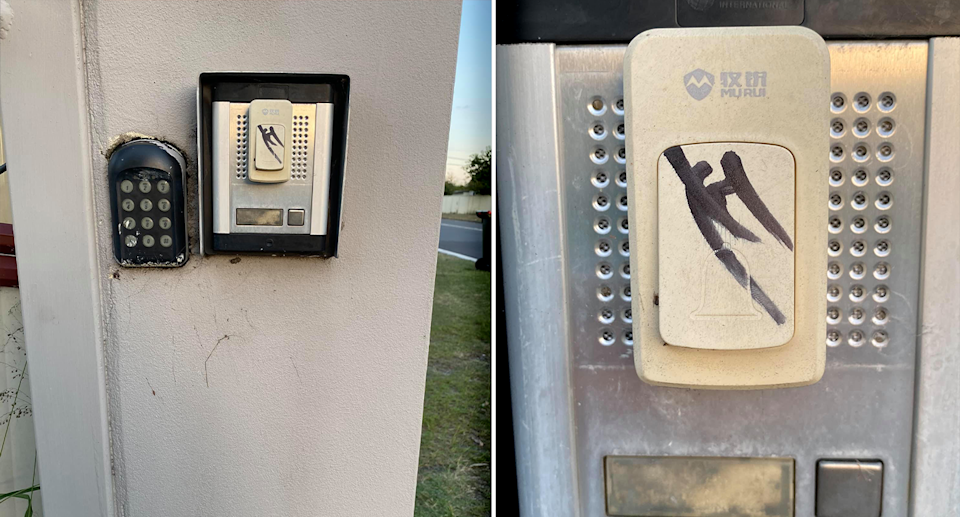 A Central Coast woman's doorbell with an unfamiliar symbol on it drawn in permanent marker.