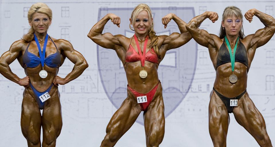 "<div class=""caption-credit""> Photo by: Tomas Hudcovic/isifa/Getty Images</div>You've got be tan. ""The reason female bodybuilders look so dark is because tanners help define cuts and shreds,"" says Colbert, who's started her own line of bodybuilding cosmetics called Shades of Monet. ""It's all about the illusion being created."" <br> <br>"