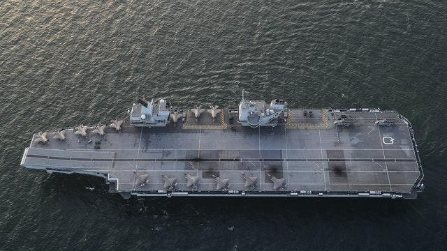 Two squadrons of F-35B stealth jets, the RAF's 617 Squadron (The Dambusters) and the US Marines Corps VMFA-211 (The Wake Island Avengers), aboard the Royal Navy carrier HMS Queen Elizabeth