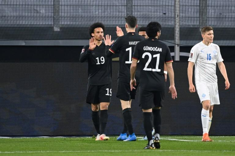 Leroy Sane (L) and goal-scorer Kai Havertz celebrate scoring for Germany in Thrusday's 3-0 win over Iceland in a World Cup qualifier