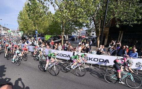 Salisbury, Wiltshire, England; OVO Energy Tour Series cycling; Riders at the start of the Womens race - Credit: Getty Images