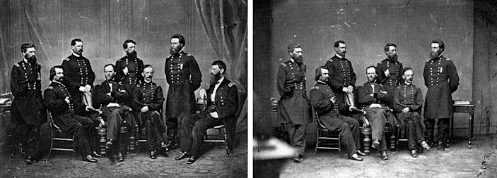 General Francis P. Blair (on the far right end) was added to this Matthew Brady photograph at a later date.