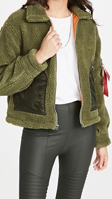 """<h2>Shearling, Fleece, and Sherpa Jackets</h2><br><br><strong>Alpha Industries</strong> Cropped Sherpa Utility Jacket, $, available at <a href=""""https://go.skimresources.com/?id=30283X879131&url=https%3A%2F%2Fwww.shopbop.com%2Fcropped-sherpa-utility-jacket-alpha%2Fvp%2Fv%3D1%2F1554195541.htm"""" rel=""""nofollow noopener"""" target=""""_blank"""" data-ylk=""""slk:Shopbop"""" class=""""link rapid-noclick-resp"""">Shopbop</a>"""