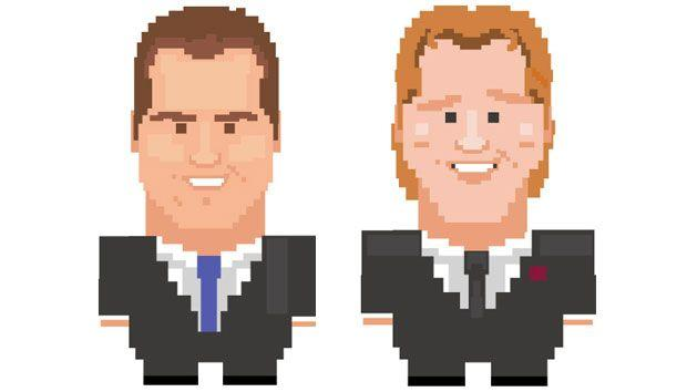 Channel 7 AFL commentators Luke Darcy and Cameron Ling in 8-bit form. Courtesy of Disney.