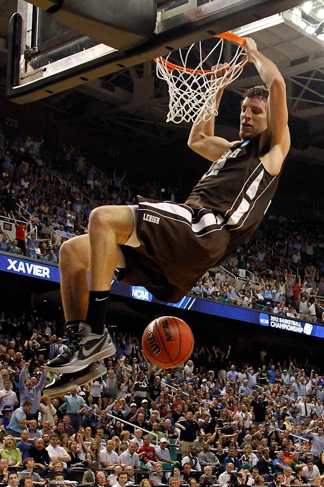 GREENSBORO, NC - MARCH 16: Gabe Knutson #42 of the Lehigh Mountain Hawks dunks the ball in the second half against the Duke Blue Devils during the second round of the 2012 NCAA Men's Basketball Tournament at Greensboro Coliseum on March 16, 2012 in Greensboro, North Carolina. (Photo by Mike Ehrmann/Getty Images)