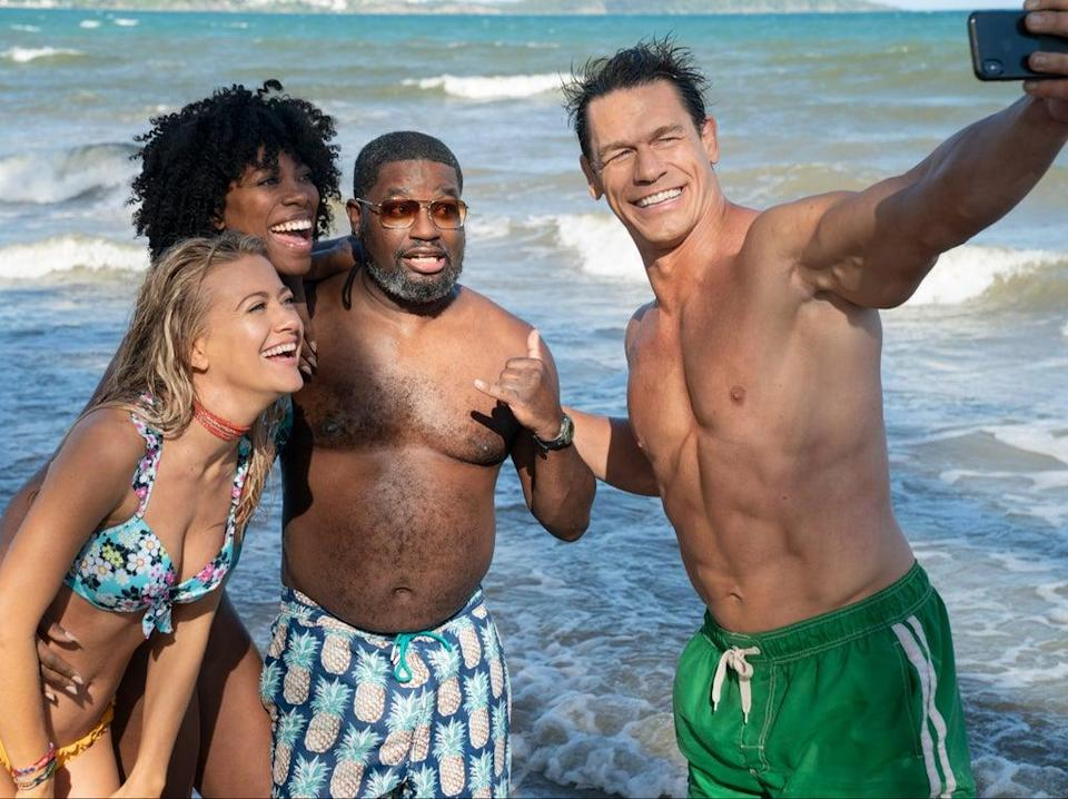 (L-R): Meredith Hagner as Kyla, Yvonne Orji as Emily, Lil Rel Howery as Marcus and John Cena as Ron in 'Vacation Friends' (Jessica Miglio)