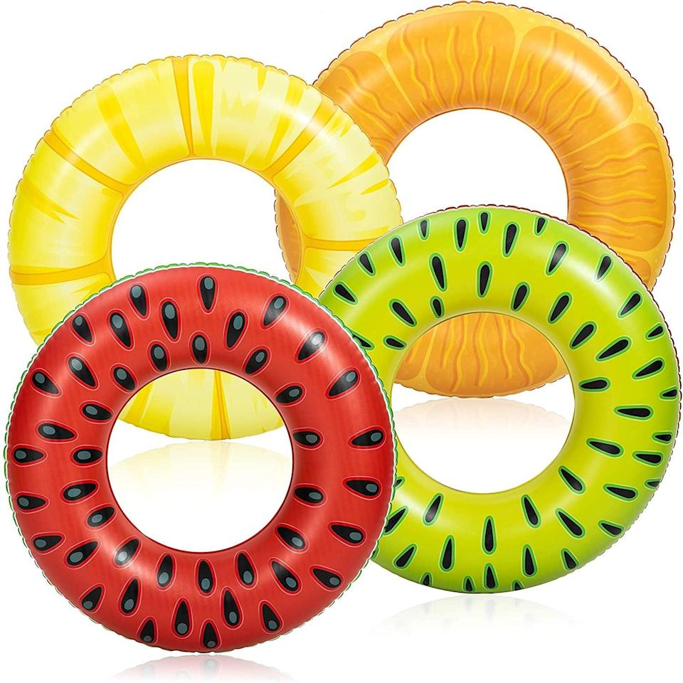 <p>Brighten up your pool with these simplistic <span>Inflatable Pool Floats Fruit Tube Rings (4 Pack)</span> ($20).</p>