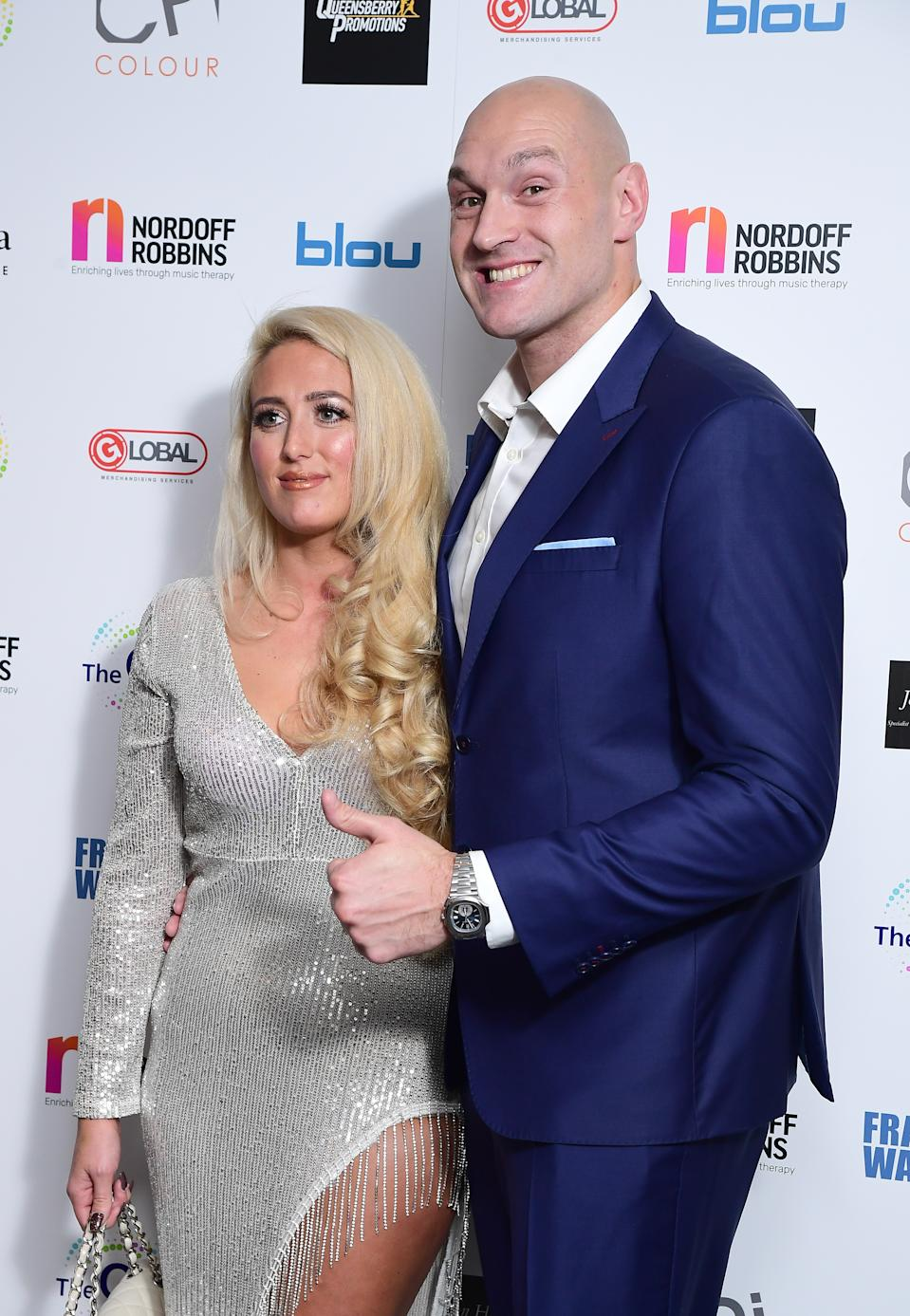 Paris and Tyson Fury attending the Nordoff Robbins Boxing Dinner held at the Hilton Hotel, London. (Photo by Ian West/PA Images via Getty Images)