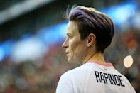 """<p>Megan Rapinoe is a captain on the US Women's National Soccer Team, an Olympic gold medalist, and two-time World Cup winner. She plays professionally in the National Women's Soccer League for the OL Reign in Tacoma, WA.</p> <p>Rapinoe has been <a href=""""https://www.out.com/travel-nightlife/london/2012/07/02/fever-pitch"""" class=""""link rapid-noclick-resp"""" rel=""""nofollow noopener"""" target=""""_blank"""" data-ylk=""""slk:out publicly as gay since 2012"""">out publicly as gay since 2012</a>, telling <strong>Out</strong> at the time, """"I feel like sports in general are still homophobic, in the sense that not a lot of people are out. I feel everyone is really craving [for] people to come out. People want - they need - to see that there are people like me playing soccer for the good ol' U.S. of A."""" Since then, she's been an outspoken advocate for LGBTQ+ rights as well as racial and gender equality, taking a leading role in the USWNT's <a href=""""https://www.popsugar.com/fitness/us-women-national-team-lawsuit-for-equal-pay-thrown-out-47440125"""" class=""""link rapid-noclick-resp"""" rel=""""nofollow noopener"""" target=""""_blank"""" data-ylk=""""slk:fight for equal pay"""">fight for equal pay</a>.</p> <p>Women athletes, she told NBC News in 2019, are <a href=""""https://www.nbcnews.com/feature/nbc-out/megan-rapinoe-moment-so-much-more-soccer-n1028061"""" class=""""link rapid-noclick-resp"""" rel=""""nofollow noopener"""" target=""""_blank"""" data-ylk=""""slk:often at the forefront"""">often at the forefront</a> of movements for change. """"We're gay, we're women, we're women of color,"""" she said, underscoring the diversity across women's sports. """"We're unfortunately constantly being oppressed in some sort of way. So I feel like us just being athletes, us just being at the pinnacle of our game is kind of a protest in a way and is sort of defiant in and of itself.""""</p>"""