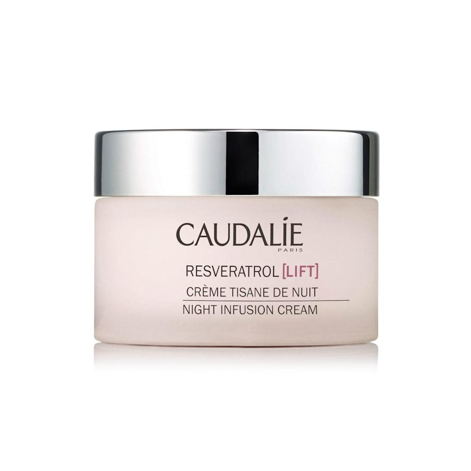 """<p>We hadn't met a face cream thats virtually smarter than ourselves until we encountered the Caudalie Resveratrol Lift Night Infusion Cream — a favorite of Sobel's — which features a patented resveratrol molecule formulated jointly by Caudalie scientists and David Sinclair of Harvard Medical School. We're also not mad at the addition of <a href=""""https://www.allure.com/story/what-is-hyaluronic-acid-skin-care?mbid=synd_yahoo_rss"""" rel=""""nofollow noopener"""" target=""""_blank"""" data-ylk=""""slk:hyaluronic acid"""" class=""""link rapid-noclick-resp"""">hyaluronic acid</a>, peptides, and <a href=""""https://www.allure.com/story/what-are-ceramides?mbid=synd_yahoo_rss"""" rel=""""nofollow noopener"""" target=""""_blank"""" data-ylk=""""slk:ceramides"""" class=""""link rapid-noclick-resp"""">ceramides</a>, all of which work to plump skin and minimize the appearance of fine lines.</p> <p><strong>$76</strong> (<a href=""""https://shop-links.co/1668095204871957436"""" rel=""""nofollow noopener"""" target=""""_blank"""" data-ylk=""""slk:Shop Now"""" class=""""link rapid-noclick-resp"""">Shop Now</a>)</p>"""