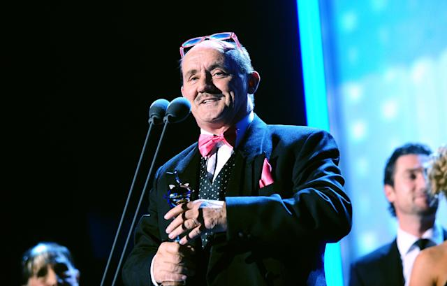 Brendan O'Carroll collects the Best Sitcom Award for <em>Mrs Brown's Boys</em> at the 2013 National Television Awards. (Ian West/PA Images via Getty Images)