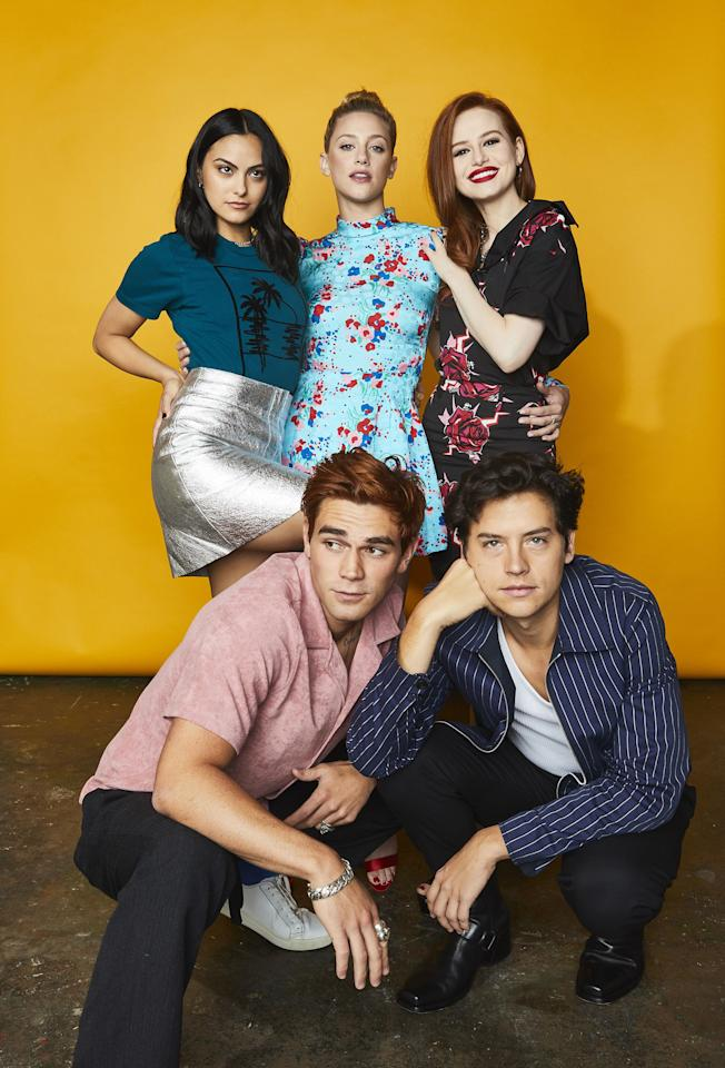 <p><em>Riverdale</em>'s five biggest stars KJ Apa, Camila Mendes, Lili Reinhart, Cole Sprouse,<em></em> and Madelaine Petsch all stopped by the Getty Images Portrait Studio delivered by Pizza Hut during their Comic Con visit yesterday. And they clearly all had a blast putting their close rapport on display for all to see. Here on ELLE.com, an exclusive first look at their Comic Con 2019 portraits. There's a lot of great fashion, cast bonding, and power posing happening. </p>