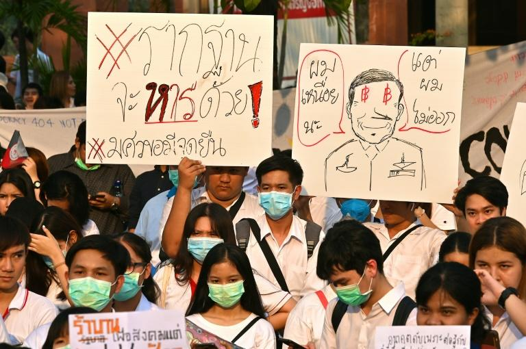 Universities across Thailand have seen rallies since the Future Forward Party was dissolved last week (AFP Photo/Mladen ANTONOV)