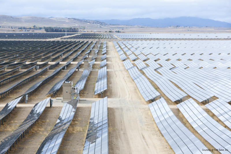 Large solar farm in the desert built with First Solar panels.