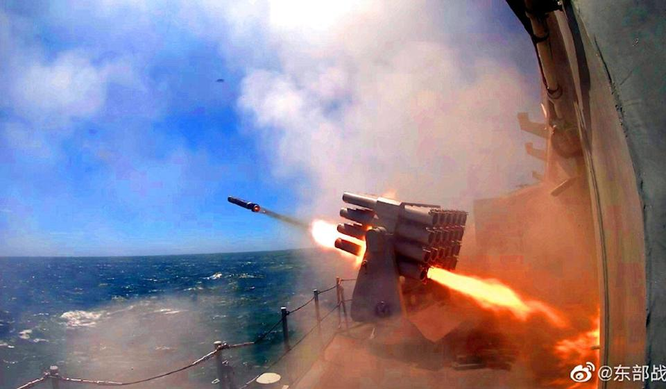 A People's Liberation Army ship is seen firing a missile in an East China Sea exercise in August. Photo: PLA via Weibo