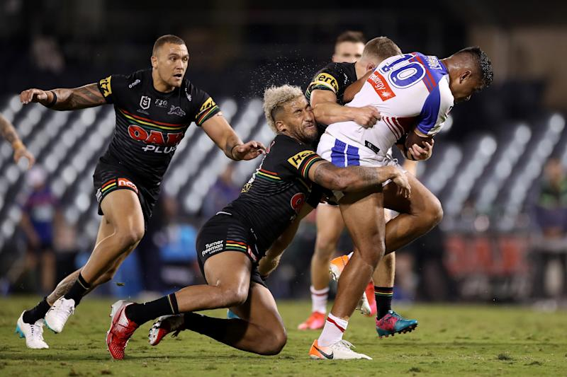 SYDNEY, AUSTRALIA - MAY 31: Daniel Saifiti of the Knights charges forward during the round three NRL match between the Penrith Panthers and the Newcastle Knights at Campbelltown Stadium on May 31, 2020 in Sydney, Australia. (Photo by Mark Kolbe/Getty Images)
