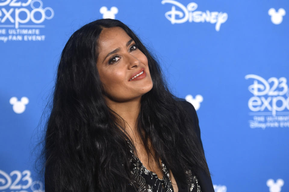 ANAHEIM, CALIFORNIA - AUGUST 24: Salma Hayek Pinault attends Go Behind The Scenes with Walt Disney Studios during D23 Expo 2019 at Anaheim Convention Center on August 24, 2019 in Anaheim, California. (Photo by Frazer Harrison/Getty Images)