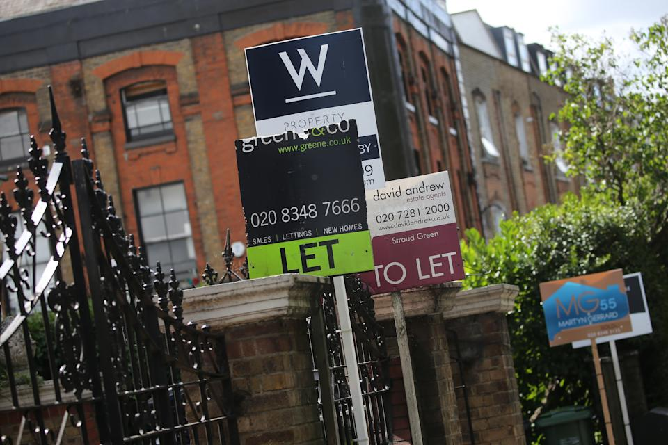 A row of To Let estate agent signs placed outside houses in north London. Chancellor Rishi Sunak has confirmed temporary plans to abolish stamp duty on properties up to 500,000 GBP in England and Northern Ireland as part of a package to dull the economic impact of the coronavirus. Picture date: Saturday July 11, 2020.