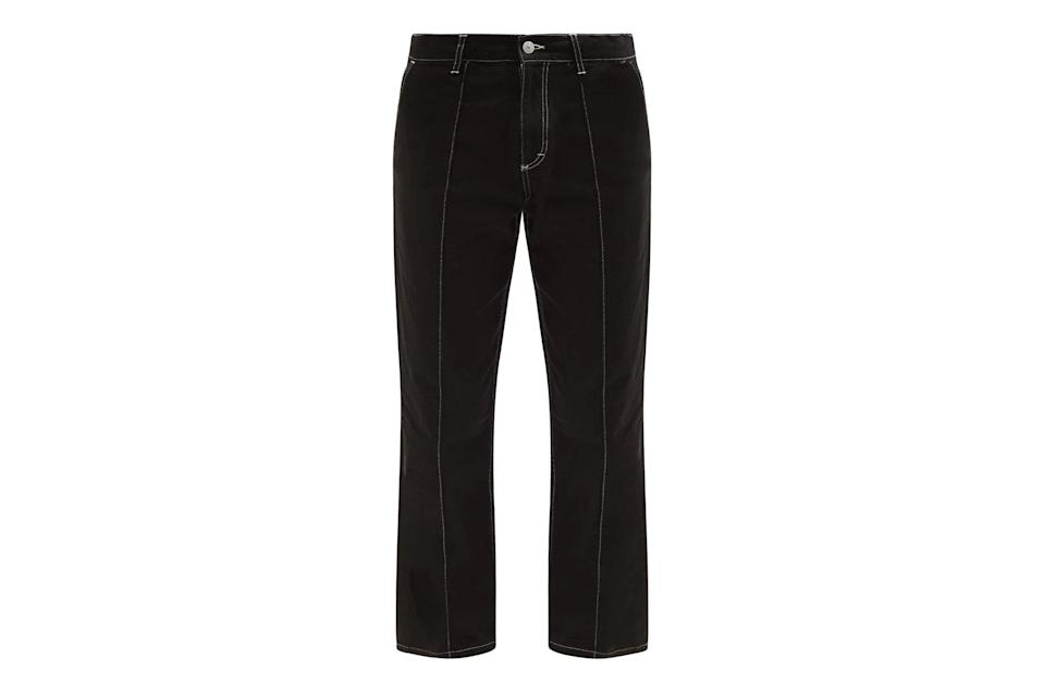 """$254, Matches Fashion. <a href=""""https://www.matchesfashion.com/us/products/Noma-t-d--Contrast-stitched-wide-leg-jeans-1398743"""" rel=""""nofollow noopener"""" target=""""_blank"""" data-ylk=""""slk:Get it now!"""" class=""""link rapid-noclick-resp"""">Get it now!</a>"""