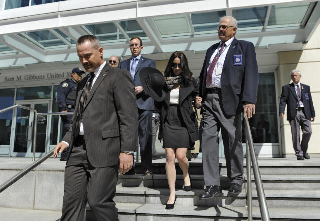Casey Anthony, center, leaves the United States Courthouse in Tampa, Fla., with U.S. Marshals after a bankruptcy hearing Monday, March 4, 2013, in Tampa, Fla. Anthony has not made any public appearances since she left jail after being acquitted in 2011 for the murder of her two-year-old daughter Caylee. (AP Photo/Brian Blanco)