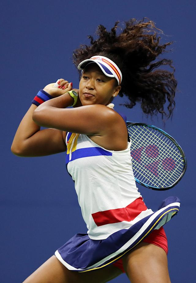 <p>Naomi Osaka of Japan reacts against Angelique Kerber of Germany during their first round Women's Singles match on Day Two of the 2017 US Open at the USTA Billie Jean King National Tennis Center on August 29, 2017 in the Flushing neighborhood of the Queens borough of New York City. (Photo by Elsa/Getty Images) </p>